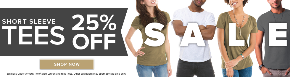 Picture of students wearing tees. Short sleeve tees 25% sale. Excludes Under Armor, Polo/Ralph Lauren and Nike tees. Other exclusions may apply. Limited time only. Click to shop now.