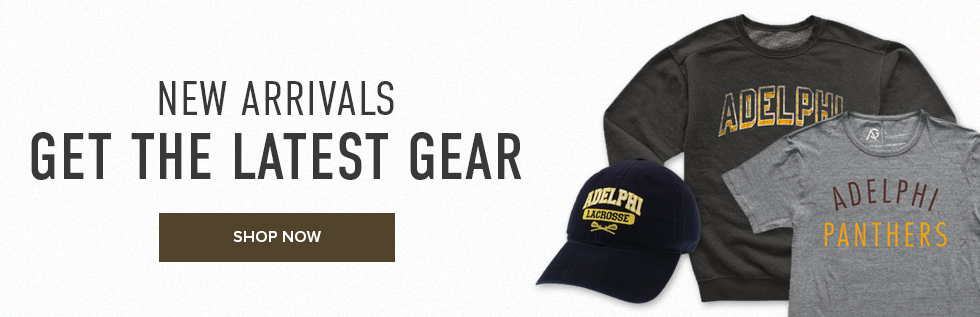Picture of shirts and hat. New Arrivals: get the latest gear. Click to shop now.